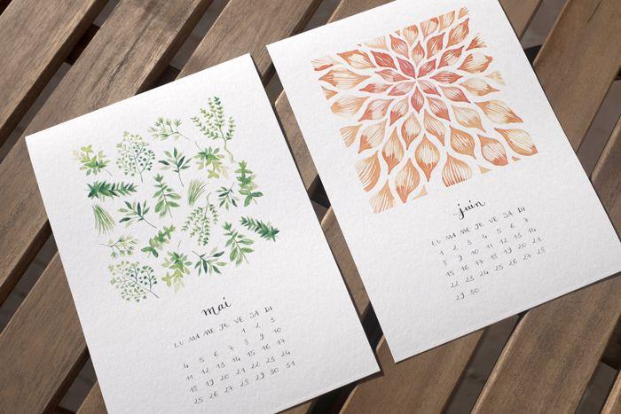 Watercolor Pattern Calendar 2015