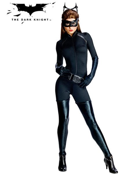 #880631 Purrrr! Join Batman as his sexy sidekick. The Cat woman costume includes a black jumpsuit and belt. The character gloves, headpiece and eye-mask complete the sexy cat look. Included: - Jumpsui