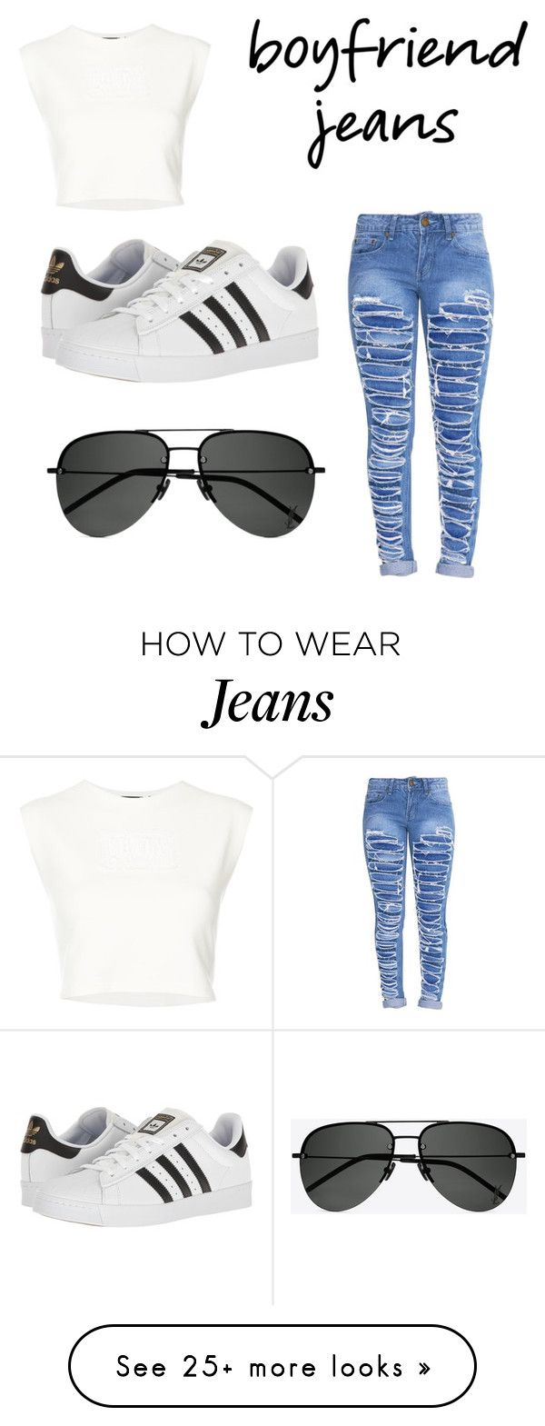 """Boyfriend Jeans"" by heavensdemon on Polyvore featuring Puma, adidas and Yves Saint Laurent"