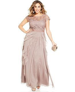 Adrianna Papell Plus Size Cap-Sleeve Embellished Gown - Dresses - Plus Sizes - Macy's