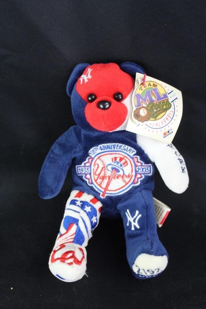 New York Yankees 100th Anniversary Plush Stuffed Team Beans Teddy Bear MLB  NWT! 001a83e07ed6