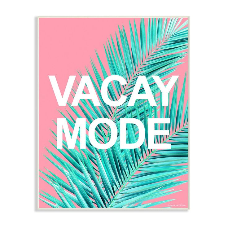 Stupell Decor Vacay Mode Neon Palm Leaf Wall Plaque Art