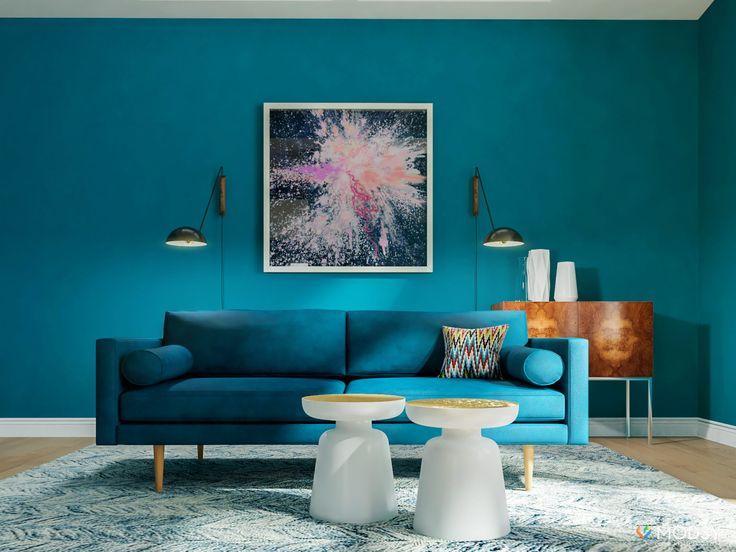 Blue Monochromatic Living Room Ideas Walls And Sofa Bold Mid Century