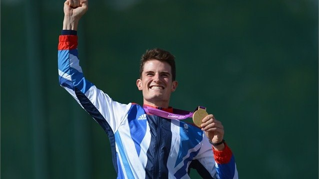 Peter Wilson of Great Britain celebrates with his gold medal during the Victory Ceremonyfollowing the men's Double Trap Shooting final on Day 6 of the London 2012 Olympic Games at the Royal Artillery Barracks.