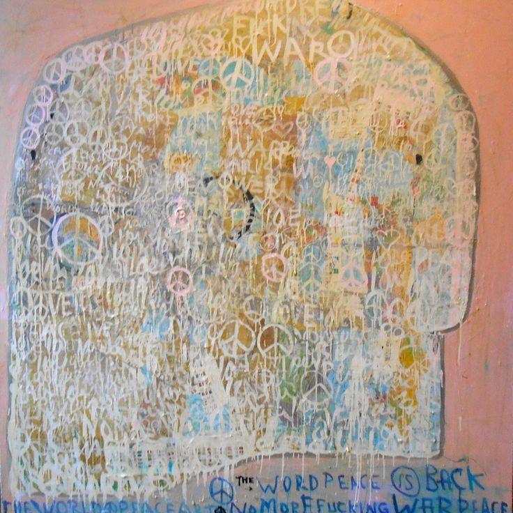 War is over - Mixed media on canvas -70.86 x70.86 in #art #decor #collage #home #artist #beautiful #fab #peace #gallery #galleri #shop #marishagulmann