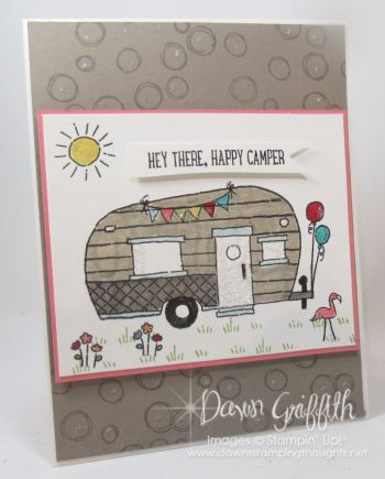 Hi Stampers, Happy Labor day friends ! Here is the really cute card I made for Jessie's boyfriend ( Tommy) mom.  Stacie ( Tommy's mom ) love to go camping and what a perfect stamp set to use on her bi