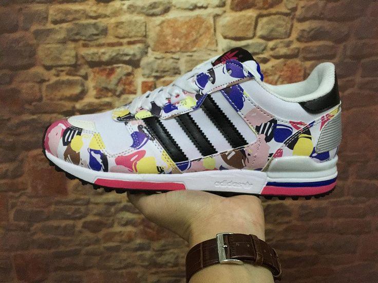 2016 Adidas ZX 700 Multicolor Originals O12017 Herren & Damen 's Beiläufig Schuhe Lila/Rosa/Weiß /Gelb