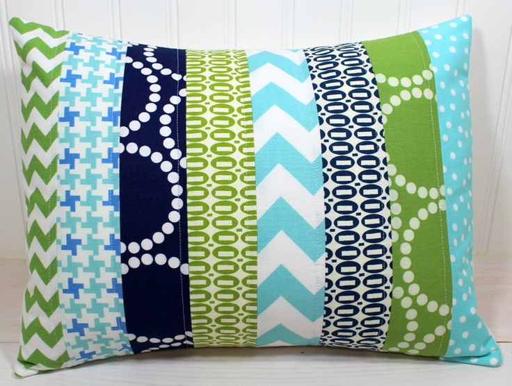 Pillow Cover - 12 x 16 Inches - Aqua Blue, Navy and Green Chevron