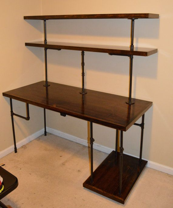 Chris Industrial Computer Desk Shelves By