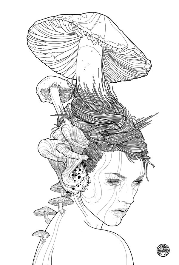 MUSHROOM GIRL by Tavo Montañez, via Behance