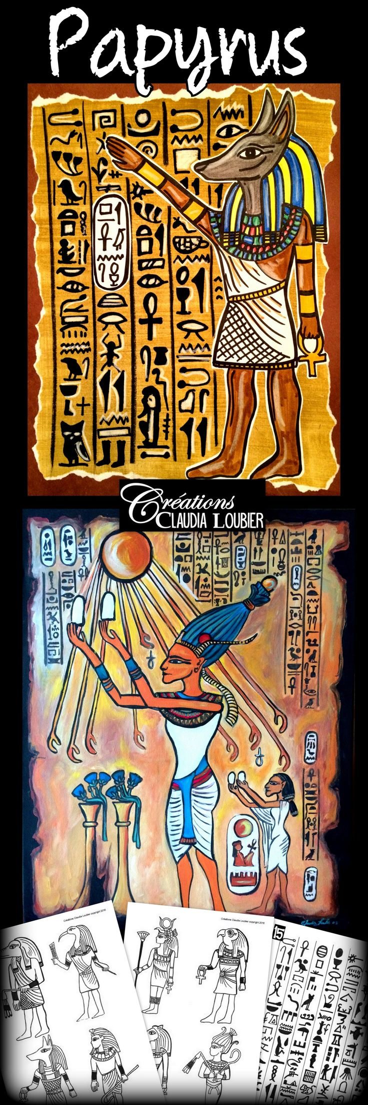 Explore the Egyptian art with your students by creating a magnificent papyrus! From grade 2 to grade 6. Interesting to do with high school students too. Simple materials:  To give a bit of inspiration to your students, this document includes: - A comprehensive approach: 4 pages - Explanatory pictures: 11 pages - An Egyptian artwork to look at and give appreciation on: 1 page - Drawings of Egyptian gods:9 gods - Evaluation grid