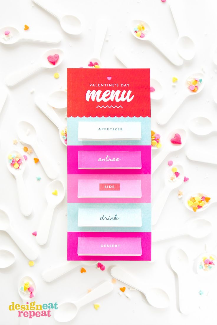 Whipping up a Valentine's Day dinner for family or friends? Download these free printable (pop-up!) menus, customize the text through @avery  and set one at each place-setting for a fun interactive 5 course dinner! #averyproducts #freeprintable #diy