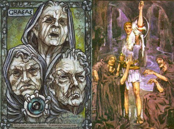 The Graeae were three sisters of fate who shared one eye and one tooth in Greek mythology. They were born as old women and their names were Deino (dread), Enyo (horror) and Pemphredo (alarm).