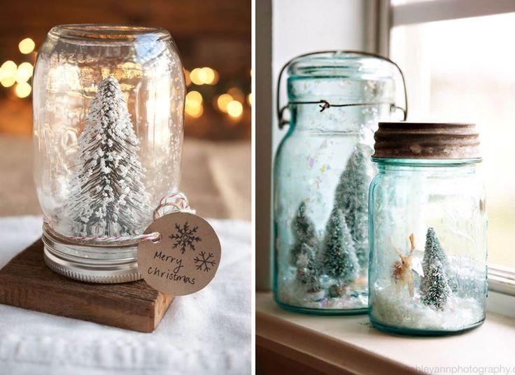 Barattoli di vetro con neve - decorazioni di Natale fai da te