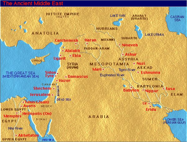 Middle east map in biblical times on