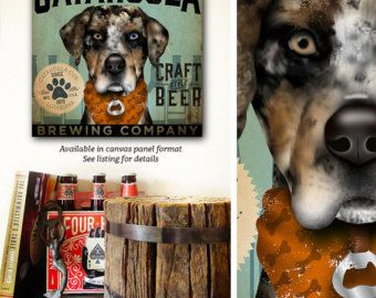 Catahoula Leopard Dog Cur brewing beer Company by geministudio