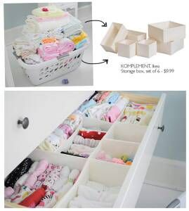 Salt & Pepper: IDEA : Organizing Baby Stuff  Do a DIY version with card board from cereal boxes and tape!