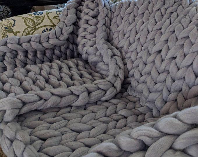 Blau Grobstrick Stricken Grobstrick Strick Decke Decke Decke Aus
