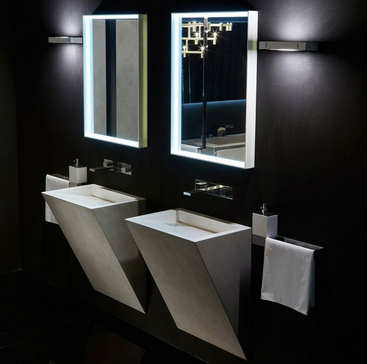diseño de lavabos modernos integrados en la pared