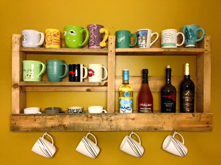 Custom Made Pallet Coffee Holder/Pallet Shelf/Coffee Mug Holder by FocusedDesignsNC on Etsy