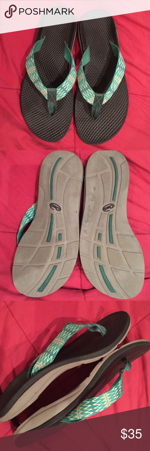 Chaco flip flops Great flips, minor wear only, lots of life left! Cute green strap design. Top Rated Seller & Fast Shipper! Bundle for a great discount. Reasonable offers considered 😊 Chaco Shoes Sandals