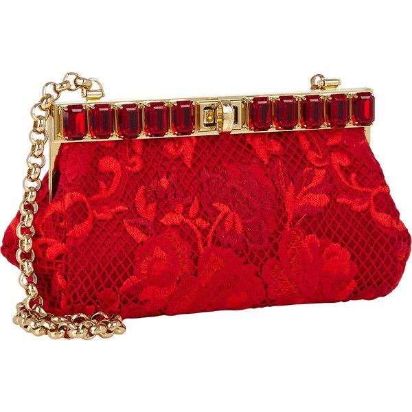 Dolce & Gabbana Ricamo Pochette featuring polyvore, fashion, bags, handbags, clutches, dolce & gabbana, purses, dolce&gabbana, red clutches, embellished handbags, chain handle handbags and red purse