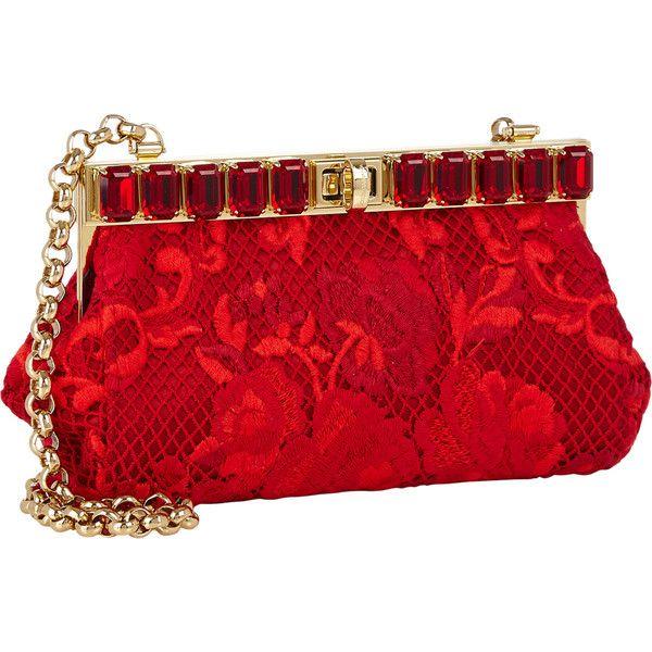 Dolce & Gabbana Ricamo Pochette (9.055 BRL) ❤ liked on Polyvore featuring bags, handbags, clutches, bolsa, dolce & gabbana, red purse, chain handle handbags, accessories handbags, embellished purses and dolce gabbana purse