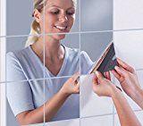 Miroir Autocollant Miroir adhésif décoratif carré effet miroir Carrés argenté amovible pour salle de bain porche salon chambre (45x45cm(9 pièces))