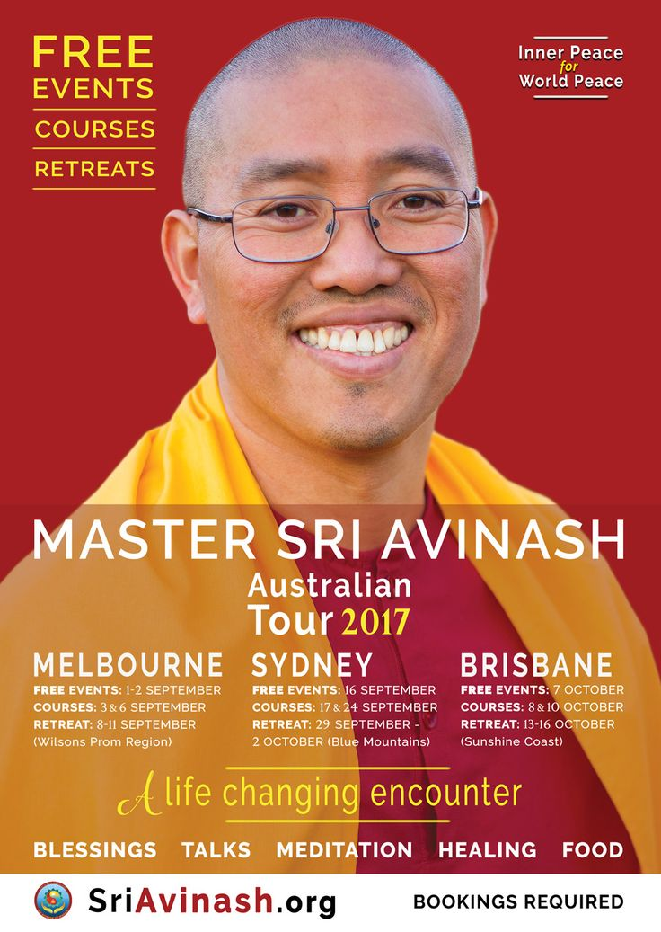 Free Events with Master Sri Avinash in Melbourne, Sydney and Brisbane.  Meditation, Inspiration, Healing.  A life-changing encounter.  Find out more: http://melbournepeace.com/