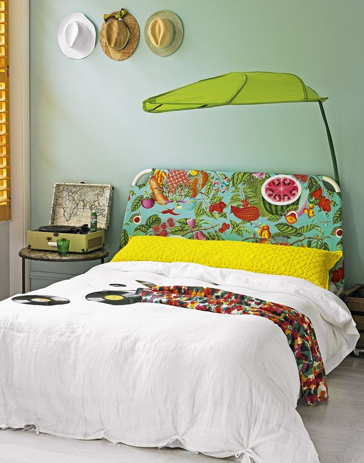 Modern ethnic bedroom with leaf canopy