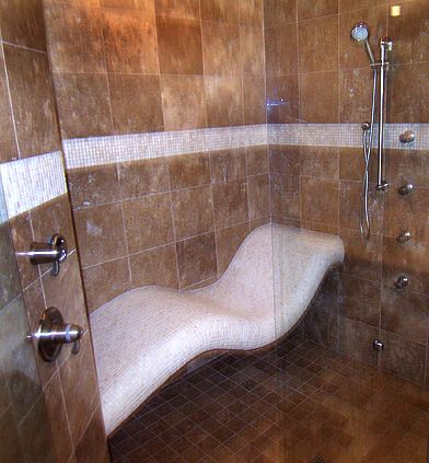 Reclining in a steam shower. So much better than just a bench but I would never get out of the shower