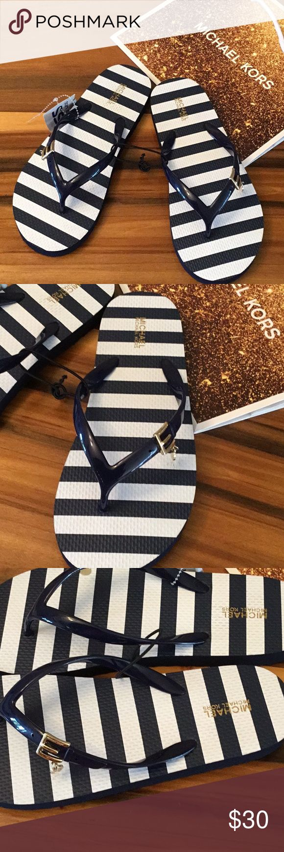 Michael Kors Flip Flops New nautical, navy and white stripe flip flops. Women's size 8. New with tags. Michael Kors Shoes Sandals