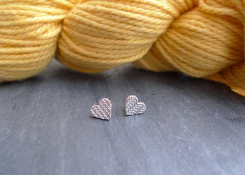 Knitted Texture Heart Stud Earrings in Sterling Silver by Slashpile Designs