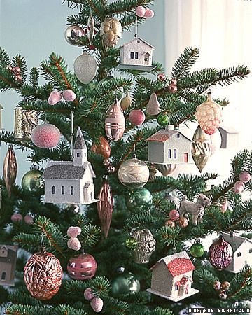 cute glitter houses and pink ornaments