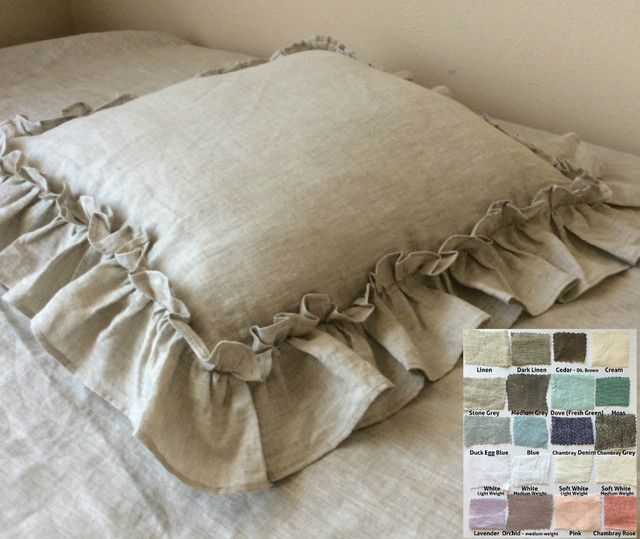 Natural Linen Euro Sham Cover with Vintage Ruffle - linen