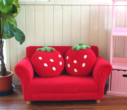 red cushions sofa seat strawberry cute