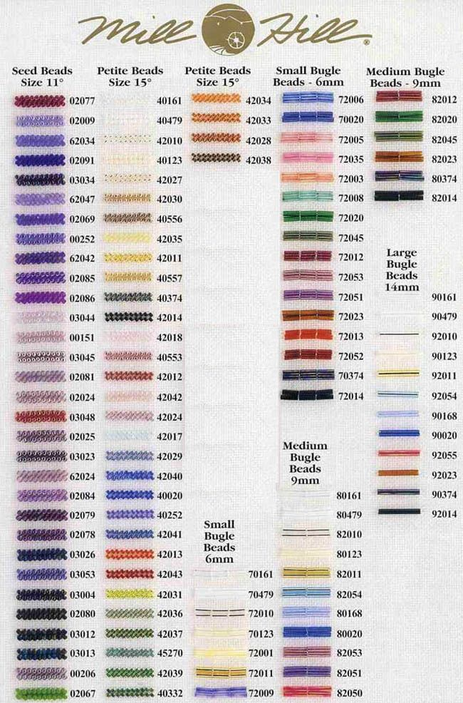 Mill Hill Beads Color Chart | Abalorios MILL HILL. Cross stitch articles