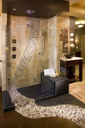 Just the notion here of having pebbles flow in & out of shower... could incorporate alt mosaic/patterning...
