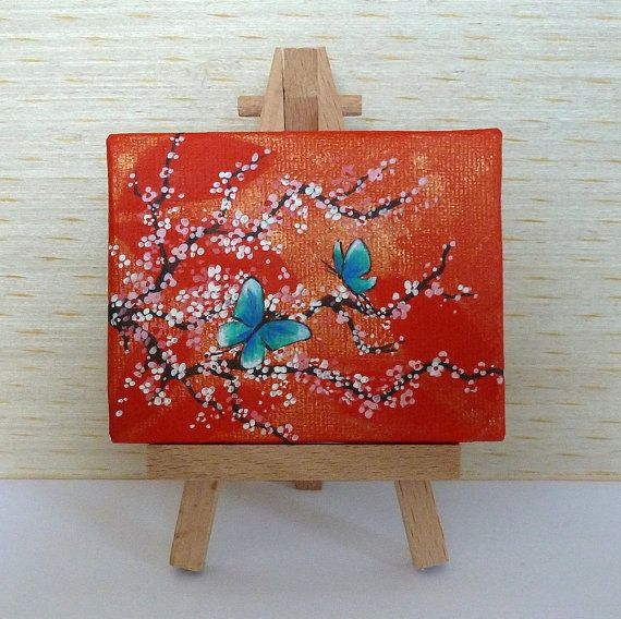 Tiny Orange and Gold Canvas Pink Cherry Blossom by JewellsArtUK
