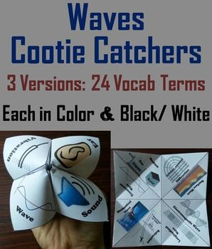 These cootie catchers are a great way for students to have fun while learning about waves. These cootie catchers contain the following vocabulary terms: Wave, Amplitude, Vibration, Frequency, Trough, Wavelength, Crest, Pitch, Surface wave, Electromagnetic wave, Longitudinal wave, Refraction, Diffraction, Mechanical wave, Transverse wave, Medium, Sonic boom, Wave interference, Destructive interference, Constructive interference, Doppler effect, Compression, Rarefaction, Ear