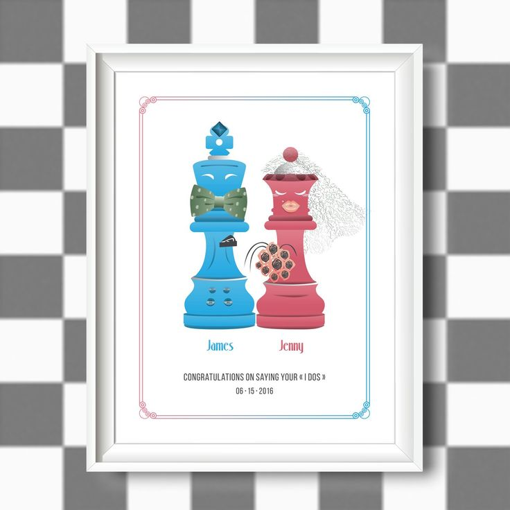 Marriage can be a game of chess, a daily nice challenge to face! Customize your wedding gift choosing this original and friendly illustration.