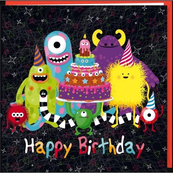 """Rémy Tornior carte postale double carrée (16 cm) """"Happy Birthday monsters"""""""