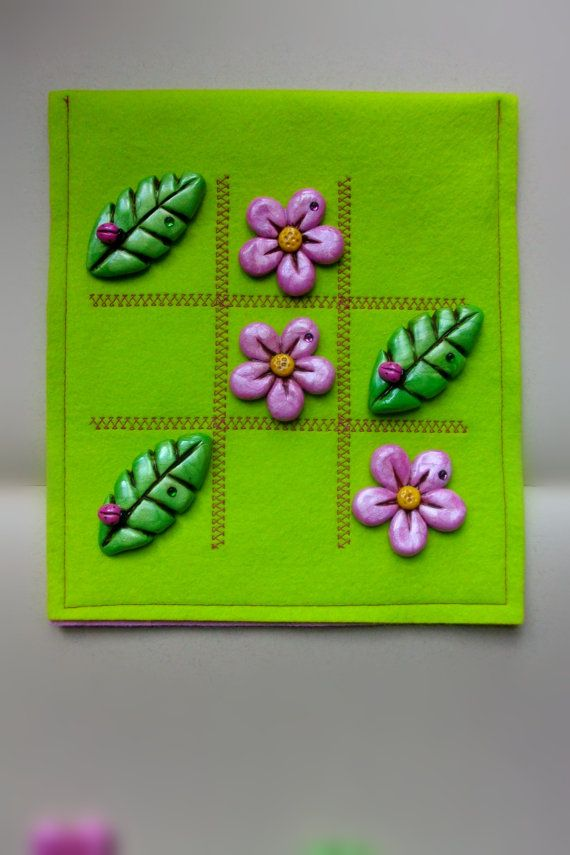 Flower and Leaves Tic Tac Toe with pure wool felt by GoblinMoonUK, £20.00