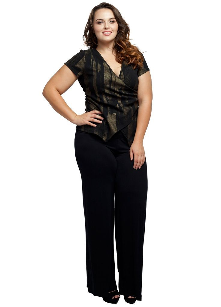Stylzoo Women's Plus Size Stretchy Comfy Palazzo Solid Color Pants at Amazon Women's Clothing store Plus size plus fashion style fashion diaries makeup make up eye hair photoshoot runway women girl girls curves curvy full figured body positive ootd ootn