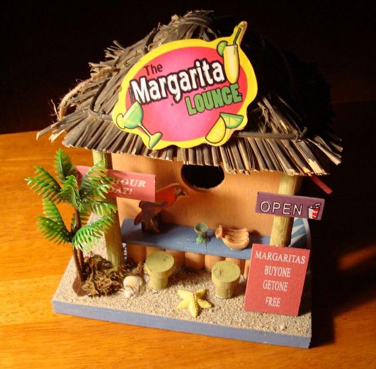 beach+theme+birdhouses | ... LOUNGE TIKI BEACH BAR GRASS SHACK BIRDHOUSE CANTINA & PARROT Decor NEW
