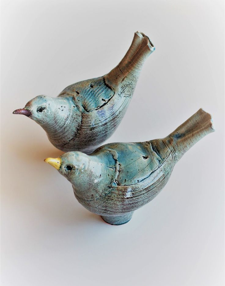 Ceramic sculpture, blackbirds.
