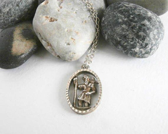 St Christopher Necklace  Vintage Jewellery  Oval Pendant