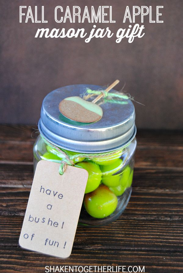 Have a bushel of fun with these Fall Caramel Apple Mason Jar Gifts! They are the perfect Fall party favor!