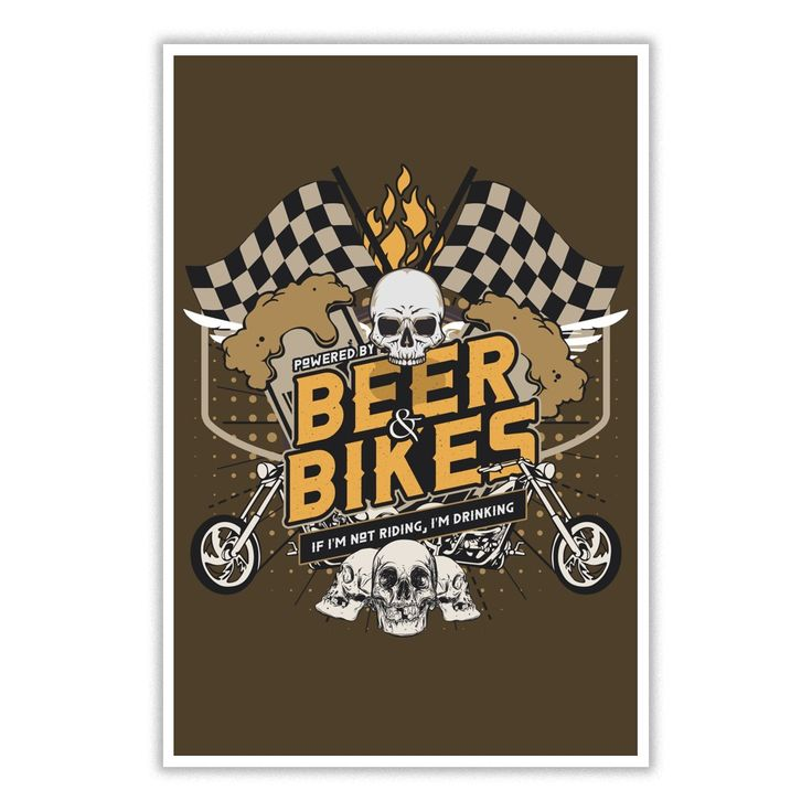 Powered By Beer And Bikes Poster. Funny and Clever Beer Drinking Quotes, Sayings, T-Shirts, Hoodies, Tees, Clothing, Gifts. #beer