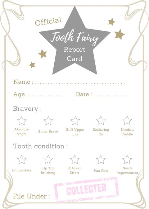 FREE printable Tooth Fairy report card